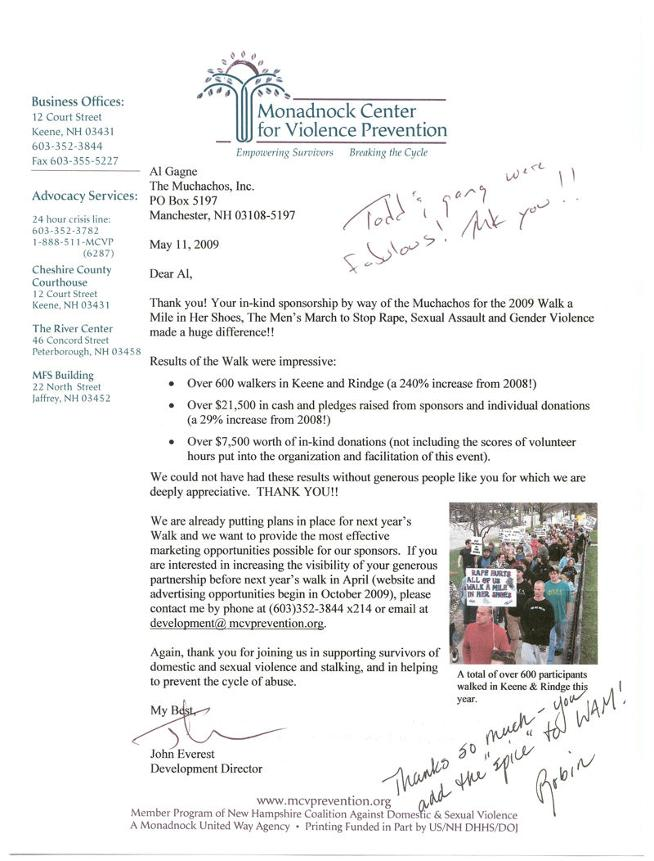 Thank You Letter from Monadnock Center for Violence Prevention